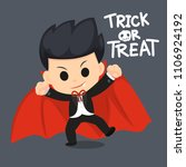 kids with with vampire dress in ... | Shutterstock .eps vector #1106924192
