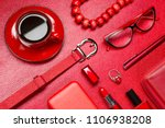 red woman accessories with... | Shutterstock . vector #1106938208