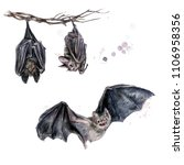 bats. watercolor illustration. | Shutterstock . vector #1106958356