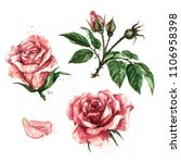 pink roses. watercolor...   Shutterstock . vector #1106958398