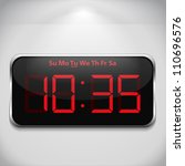 Digital Clock On Gray Wall ...