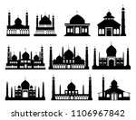 islamic buildings silhouettes.... | Shutterstock .eps vector #1106967842