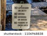 no lifeguard on duty no diving...   Shutterstock . vector #1106968838
