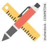 drafting tools  pen and ruler...   Shutterstock .eps vector #1106987246