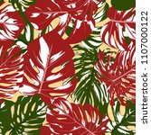 seamless tropical pattern with... | Shutterstock .eps vector #1107000122