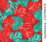 seamless tropical pattern with... | Shutterstock .eps vector #1107000125
