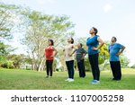 group of elderly people doing... | Shutterstock . vector #1107005258