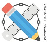 flat icon design of drafting...   Shutterstock .eps vector #1107005426