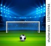 soccer ball on green football... | Shutterstock .eps vector #1107005966