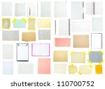 collection of old note paper on ...   Shutterstock . vector #110700752
