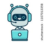 cute smiling chat bot working... | Shutterstock . vector #1107013358