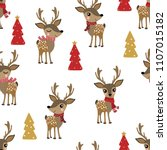 cute deer in winter costume... | Shutterstock .eps vector #1107015182