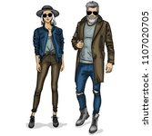vector woman and man fashion... | Shutterstock .eps vector #1107020705
