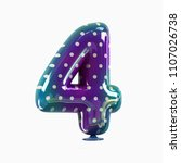 number 4. colorful vivid disco... | Shutterstock . vector #1107026738