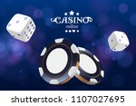 casino poker chips and dice.... | Shutterstock .eps vector #1107027695