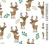 cute deer seamless pattern and... | Shutterstock .eps vector #1107030512