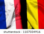 France and belgium flag on...