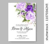 Stock vector wedding invitation vector template card beautiful soft purple peony vintage background flowers 1107036245