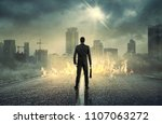 businessman standing with back... | Shutterstock . vector #1107063272