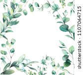 watercolor floral frame. hand... | Shutterstock . vector #1107064715