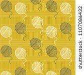 cute  yarn balls pattern ... | Shutterstock .eps vector #1107086432