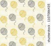 cute  yarn balls pattern ... | Shutterstock .eps vector #1107086435