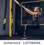 sexy blonde woman in sportswear ... | Shutterstock . vector #1107086606