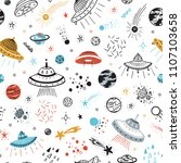 space background for kids.... | Shutterstock .eps vector #1107103658