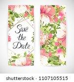 wedding floral template invite  ...   Shutterstock .eps vector #1107105515