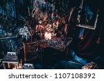 dark decor with dried flowers ... | Shutterstock . vector #1107108392