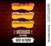 vector cartoon hotdogs label... | Shutterstock .eps vector #1107115235