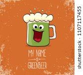 vector cartoon funky green beer ... | Shutterstock .eps vector #1107117455
