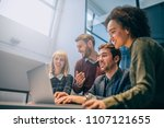 shot of a group of coworkers... | Shutterstock . vector #1107121655