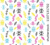 cute childish pattern with hand ... | Shutterstock .eps vector #1107131702