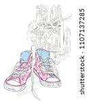 beautiful sneakers. vector... | Shutterstock .eps vector #1107137285