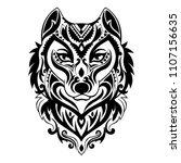 vector tribal style wolf totem... | Shutterstock .eps vector #1107156635