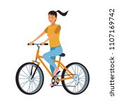 woman with bicycle | Shutterstock .eps vector #1107169742