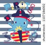 cute cartoon octopus riding a... | Shutterstock .eps vector #1107186002