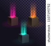 a set of cubes with a beam of... | Shutterstock .eps vector #1107195752
