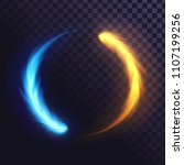 ring of blue and yellow flame ... | Shutterstock .eps vector #1107199256