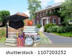 book with old style college in... | Shutterstock . vector #1107203252