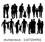happy family silhouettes  art... | Shutterstock .eps vector #1107204902