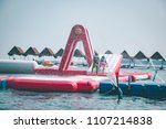 inflatable slider water pool in ... | Shutterstock . vector #1107214838