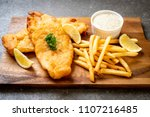 fish and chips with french... | Shutterstock . vector #1107216485