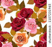 seamless pattern with roses.... | Shutterstock .eps vector #1107231965