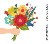 gift for you. flower bouquet in ... | Shutterstock .eps vector #1107235238