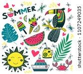vector summer time set in... | Shutterstock .eps vector #1107249035