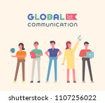 global communication characters ... | Shutterstock .eps vector #1107256022