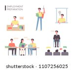 a person who is preparing for... | Shutterstock .eps vector #1107256025