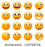 set of orange smiles. vector... | Shutterstock .eps vector #110728718
